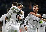 Real Madrid's Karim Benzema celebrates with Cristiano Ronaldo and Sergio Ramos during UEFA Champions League match. April 03, 2013. (ALTERPHOTOS/Alvaro Hernandez)