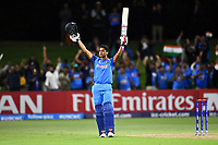 India's opening batsman Manjot Kalra celebrates his  hundred during the ICC U-19 Cricket World Cup 2018 Finals between India v Australia, Bay Oval, Tauranga, Saturday 03rd February 2018. Copyright Photo: Raghavan Venugopal / © www.Photosport.nz 2018 © SWpix.com (t/a Photography Hub Ltd)