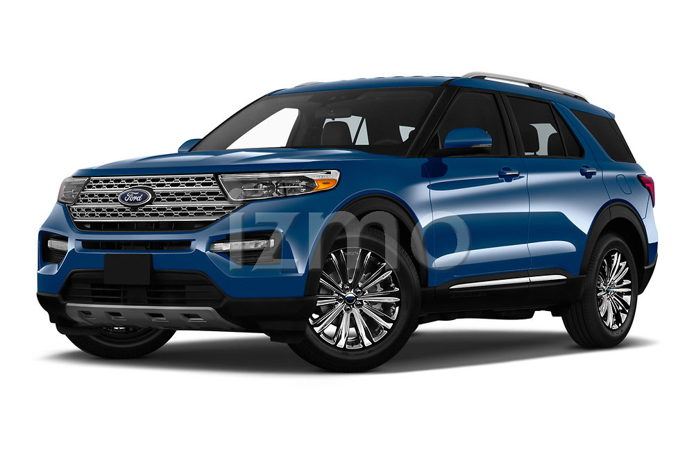 Stock pictures of low aggressive front three quarter view of 2020 Ford Explorer Limited 5 Door SUV Low Aggressive