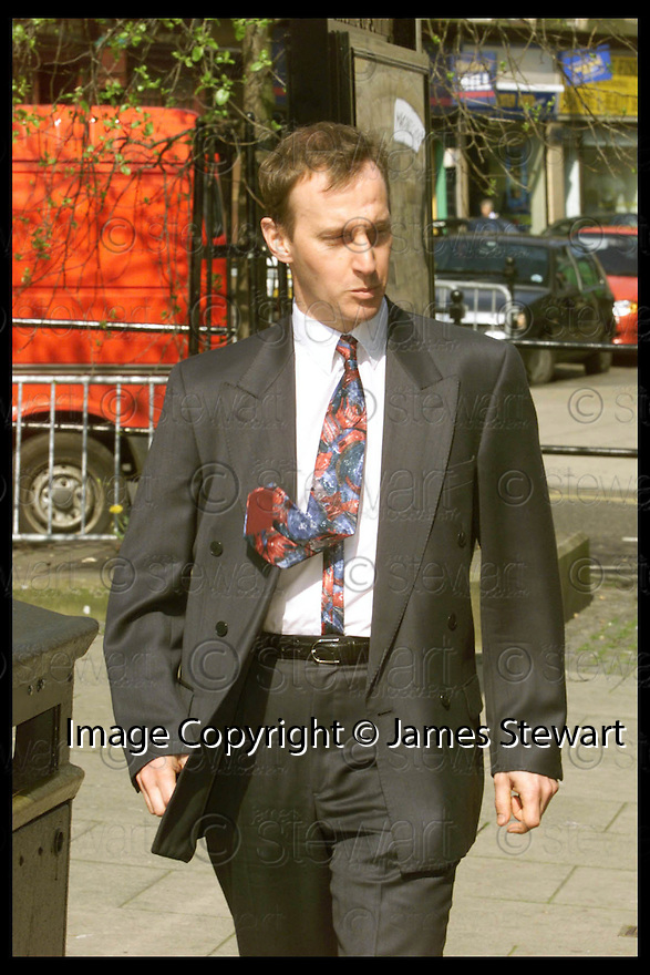 29th April 99                          Copyright Pic : James Stewart .Ref :  990212                         .File Name : stewart01-stuart alison                        .POLICEMAN STUART ALISON LEAVES STIRLING SHERIFF COURT WHERE HE FACES CHARGES RELATING TO A CRASH BETWEEN A POLICE TRAINING CAR, WHICH HE WAS DRIVING, AND A MINI BUS AT GLENOGLE.....(see copy from tim Bugler)......Payments to :-.James Stewart Photo Agency, Stewart House, Stewart Road, Falkirk. FK2 7AS      Vat Reg No. 607 6932 25.Office : 01324 630007        Mobile : 0421 416997.E-mail : JSpics@aol.com.If you require further information then contact Jim Stewart on any of the numbers above.........