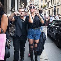 Quarto giorno della Settimana della Moda a Milano: Belen Rodriguez in via Montenapoleone<br /> <br /> Fourth  day of Milan Fashion Week: Belen Rodriguez in via Montenapoleone