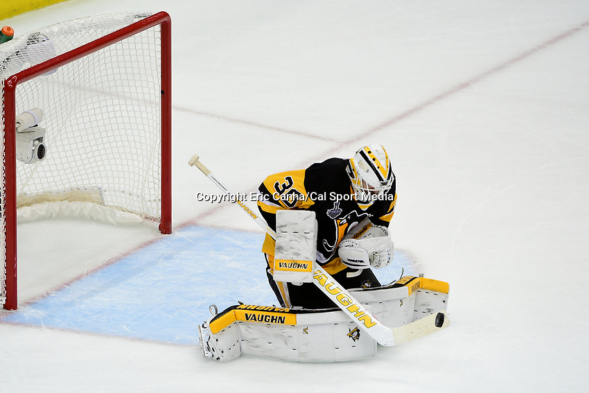 Monday, May 30, 2016: Pittsburgh Penguins goalie Matt Murray (30) makes a save during game 1 of the NHL Stanley Cup Finals  between the San Jose Sharks and the Pittsburgh Penguins held at the CONSOL Energy Center in Pittsburgh Pennsylvania. The Penguins defeat the Sharks 3-2 in regulation time. Eric Canha/CSM
