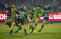 Northampton Saints' Rob Horne is tackled by Bath Rugby's Chris Cook<br /> <br /> Photographer Bob Bradford/CameraSport<br /> <br /> Anglo-Welsh Cup Semi Final - Bath Rugby v  Northampton Saints - Friday 9th March 2018 - The Recreation Ground - Bath<br /> <br /> World Copyright &copy; 2018 CameraSport. All rights reserved. 43 Linden Ave. Countesthorpe. Leicester. England. LE8 5PG - Tel: +44 (0) 116 277 4147 - admin@camerasport.com - www.camerasport.com