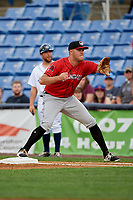 Erie SeaWolves first baseman Blaise Salter (24) stretches to receive a throw during a game against the Binghamton Rumble Ponies on May 14, 2018 at NYSEG Stadium in Binghamton, New York.  Binghamton defeated Erie 6-5.  (Mike Janes/Four Seam Images)