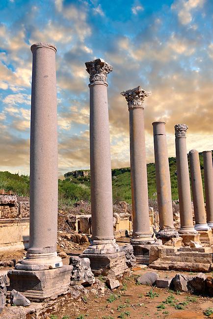 Columns of the Roman Agora of Perge. Perge (Perga) archaeological site, Turkey