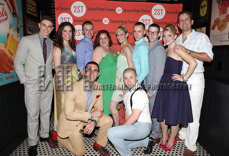 The Ensemble Cast .attending the after Party for Off-Broadway Opening Night Performance of Second Stage Theatre's 'Dogfight' at HB Burger in New York City.