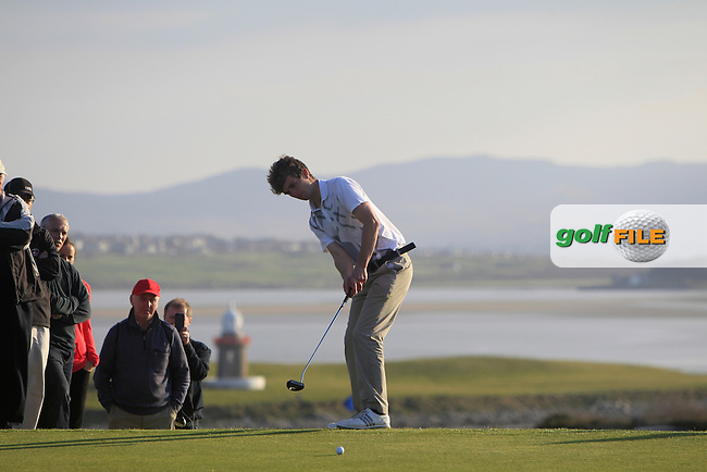 Sean Flanagan (Co. Sligo) during Matchplay Quarter-Finals on April 6th 2015 for the 2015 West of Ireland Open Championship, Co. Sligo, Golf Club, Rosses Point, Sligo, Ireland.<br /> Picture: Thos Caffrey / Golffile