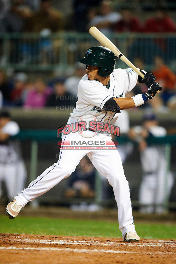 Vermont Lake Monsters outfielder Austin Booker #1 during the NY-Penn League All-Star Game at Eastwood Field on August 14, 2012 in Niles, Ohio.  National League defeated the American League 8-1.  (Mike Janes/Four Seam Images)