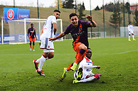 Ian Poveda of Manchester City is sent flying after a challenge during Lyon Under-19 vs Manchester City Under-19, UEFA Youth League Football at Groupama OL Academy on 27th November 2018