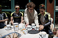 Team Mitchelton-Scott restday training ride aka 'coffee ride' > Simon Yates (GBR/Mitchelton-Scott) & Esteban Chavez (COL/Mitchelton-Scott) being served<br /> <br /> restday 1 (20 may) of the 102nd Giro d'Italia 2019<br /> <br /> ©kramon