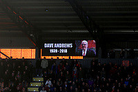 Fans fall silent to remember Dagenham chairman Dave Andrews before Barnet vs Maidstone United , Vanarama National League Football at the Hive Stadium on 3rd November 2018