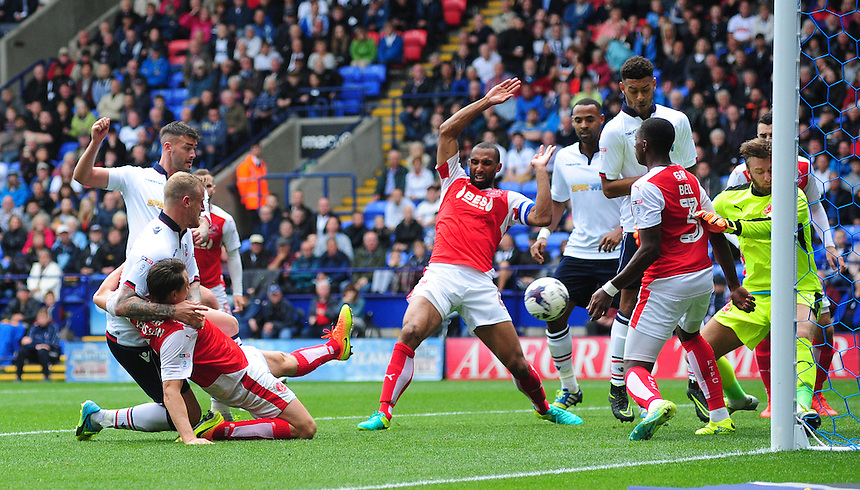 Bolton Wanderers's Gary Madine scores his sides equalising goal to make the score 1-1<br /> <br /> Photographer Chris Vaughan/CameraSport<br /> <br /> Football - The EFL Sky Bet League One - Bolton Wanderers v Fleetwood Town - Saturday 20 August 2016 - Macron Stadium - Bolton<br /> <br /> World Copyright &copy; 2016 CameraSport. All rights reserved. 43 Linden Ave. Countesthorpe. Leicester. England. LE8 5PG - Tel: +44 (0) 116 277 4147 - admin@camerasport.com - www.camerasport.com