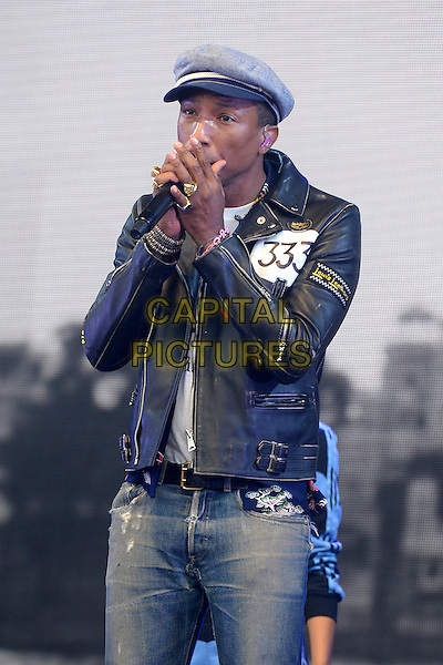LONDON, ENGLAND - JUNE 27: Pharrell Williams performs live on the Pyramid stage during the second day of the Glastonbury Festival at Worthy Farm on June 27, 2015 in Pilton, England<br /> CAP/BEL<br /> &copy;BEL/Capital Pictures