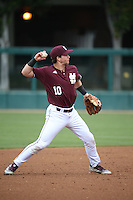 Ryan Gridley (10) of the Mississippi State Bulldogs makes a throw during a game against the Southern California Trojans at Dedeaux Field on March 5, 2016 in Los Angeles, California. Mississippi State defeated Southern California , 8-7. (Larry Goren/Four Seam Images)
