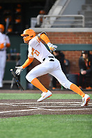 University of Tennessee Trey Lipscomb (21) runs to first base during a game against Western Illinois at Lindsey Nelson Stadium on February 15, 2020 in Knoxville, Tennessee. The Volunteers defeated Leathernecks 19-0. (Tony Farlow/Four Seam Images)