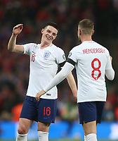 England's Declan Rice and Jordan Henderson at the end of the game<br /> <br /> Photographer Rob Newell/CameraSport<br /> <br /> UEFA Euro 2020 Qualifying round - Group A - England v Czech Republic - Friday 22nd March 2019 - Wembley Stadium - London<br /> <br /> World Copyright © 2019 CameraSport. All rights reserved. 43 Linden Ave. Countesthorpe. Leicester. England. LE8 5PG - Tel: +44 (0) 116 277 4147 - admin@camerasport.com - www.camerasport.com