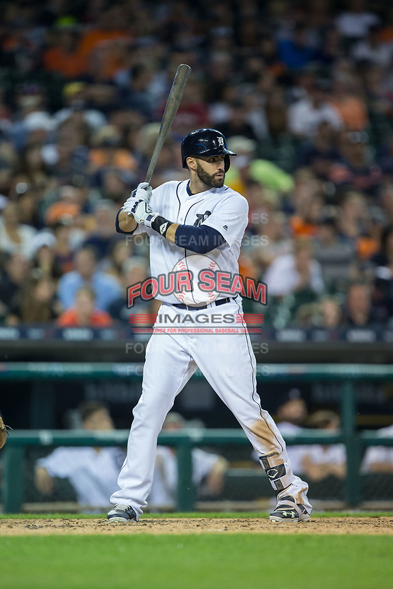 J.D. Martinez (28) of the Detroit Tigers at bat against the Chicago White Sox at Comerica Park on June 2, 2017 in Detroit, Michigan.  The Tigers defeated the White Sox 15-5.  (Brian Westerholt/Four Seam Images)