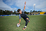 Omir Fernandez (16) of the Wake Forest Demon Deacons stretches prior to the match against the Virginia Cavaliers at MUSC Health Stadium on November 12, 2017 in Charleston, South Carolina. The Demon Deacons defeated the Cavaliers 3-2 in penalty kicks to win their second consecutive ACC Championship.  (Brian Westerholt/Sports On Film)