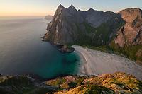 View over Horseid beach from mountain summit, Moskenesøy, Lofoten Islands, Norway