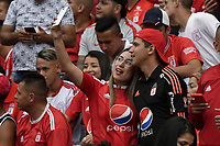 CALI - COLOMBIA, 19-10-2019: Hinchas del América se hacen una selfie durante partido por la fecha 18 de la Liga Águila II 2019 entre América de Cali y Atlético Nacional jugado en el estadio Pascual Guerrero de la ciudad de Cali. / Fans of America make a selfie during match for the date 18 as part of Aguila League II 2019 between America de Cali and Atletico Nacional played at Pascual Guerrero stadium in Cali. Photo: VizzorImage / Gabriel Aponte / Staff