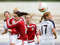 Merete Pedersen, Lori Chalupny. The USWNT defeated Denmark, 2-0, in Lagos, Portugal during the Algarve Cup.