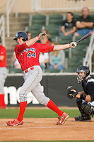 Jim Murphy #44 of the Lakewood BlueClaws follows through on his swing versus the Kannapolis Intimidators at Fieldcrest Cannon Stadium May 16, 2009 in Kannapolis, North Carolina. (Photo by Brian Westerholt / Four Seam Images)