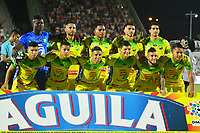 BARRANQUILLA- COLOMBIA, 12-08-2018: Formación del Atlético Huila contra el Atlético Junior   durante partido por la fecha 4 de la Liga Águila II 2018 jugado en el estadio Romelio Martínez de la ciudad de Barranquilla. / Team of Atletico Huila  against  of Atletico Junior  fights for the ball with XXXXX (L) player of Atletico Huila  during the match for the date 4 of the Liga Aguila II 2018 played at the Romelio Martinez Stadium in Barranquilla  city. Photo: VizzorImage / Alfonso Cervantes / Contribuidor