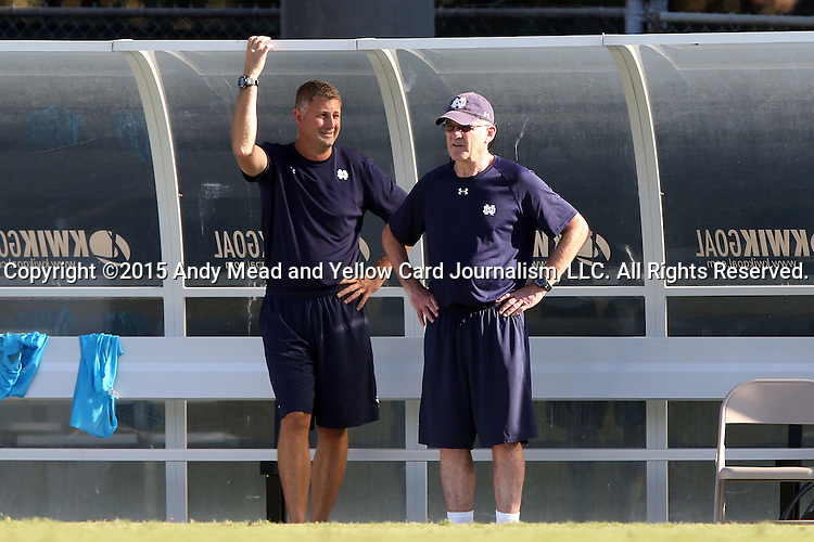 18 September 2015: Notre Dame head coach Bobby Clark (SCO) (right) with assistant coach BJ Craig (left). The University of North Carolina Tar Heels hosted the University of Notre Dame Fighting Irish at Fetzer Field in Chapel Hill, NC in a 2015 NCAA Division I Men's Soccer match. North Carolina won the game 4-2