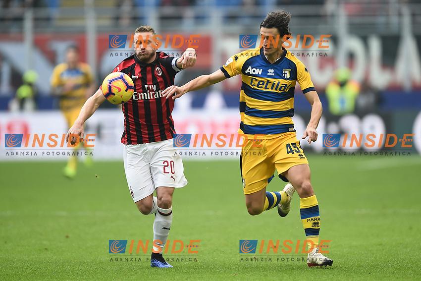 Roberto Inglese-Ignazio Abate <br /> Milano 2-12-2018 Stadio San Siro Football Calcio Serie A 2018/2019 AC Milan - Parma Foto Image Sport / Insidefoto