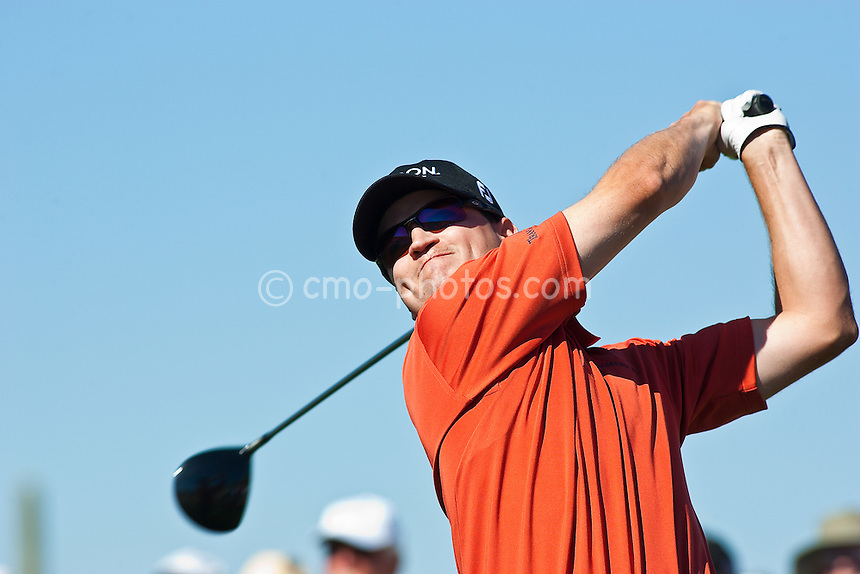 Feb 26, 2009; Marana, AZ, USA; Zach Johnson (USA) hits his tee shot on the 7th hole during the second round of the World Golf Championships-Accenture Match Play Championship at the Ritz-Carlton Golf Club, Dove Mountain.