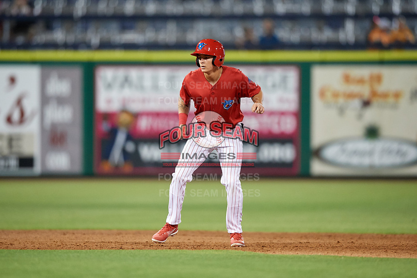 Clearwater Threshers center fielder Mickey Moniak (2) leads off during a game against the Jupiter Hammerheads on April 12, 2018 at Spectrum Field in Clearwater, Florida.  Jupiter defeated Clearwater 8-4.  (Mike Janes/Four Seam Images)