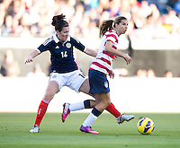 Tobin Heath, Leanne Crichton.  The USWNT defeated Scotland, 4-1, during a friendly at EverBank Field in Jacksonville, Florida.