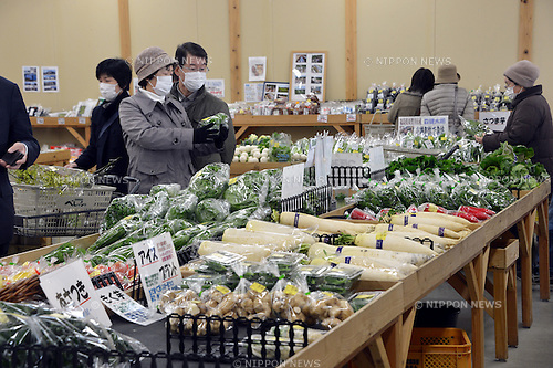 February 27, 2013, Koriyama, Japan - Fresh farm products are on sale at an agricultural products outlet in Koriyama, some 200 km northeast of Tokyo, on February 27, 2013...After radiation leaking from the crippled Fukushima nuclear power plant contaminated food produced in surrounding farmland, the government banned the sale of farm products from a large swath of area across the country's northeastern region and enforced radiation tests on the fresh foods produced in municipalities related to the nuclear accident.  (Photo by Natsuki Sakai/AFLO)