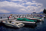 Recreation pleasure boats docked at Sunnyside, Lake Tahoe, California
