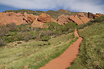 Hiking trail at Roxborough State Park, Colorado.  John leads hiking and photo tours throughout Colorado. Year-round. Denver private tours.