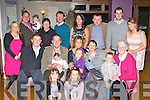 Baby Dean O'Riordain with his parents Tadgie and Orla O'Rordain Gneeveguilla celebrate his christening with their family and friends in the Killarney Heights Hotel on Saturday front row l-r: Emily, Olivia O'Riordain. Middle row: Donnagh McSweeney, Tadgie, Dean, Orla, Lauren, Joan and Dylan O'Riordan. Back row: Liz, Niall, Nicole O'Riordain, Marie, Denis McSweeney, Denise Cronin, Brendan Cronin, Michael O'Connor and Edel McSweeney