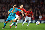Gianluca Zambrotta of Barcelona and Manchester United's Cristiano Ronaldo during the Champions League semi-final 2nd leg match at Old Trafford, Manchester. Picture date 29th April 2008. Picture credit should read: Simon Bellis/Sportimage