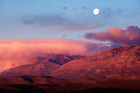 Moonset over Guadalupe Mountains, Guadalupe Mountains National Park, Texas