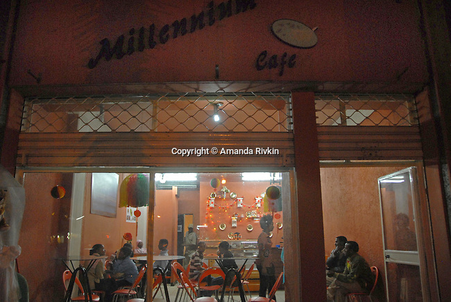 The Millennium Cafe is unable to light up the cafe's sign just ahead of the Coptic millennium celebration in the Piassa neighborhood of Addis Ababa, Ethiopia on September 10, 2007.  Ethiopia's Coptic calendar means Ethiopia celebrates the millennium seven year later than the rest of the world on September 11.