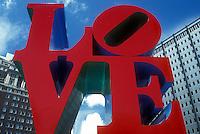 AJ1165, Philadelphia, love, Pennsylvania, The red LOVE Statue at Kennedy Plaza in downtown Philadelphia, Pennsylvania.