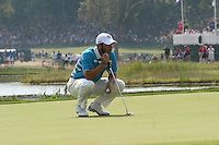 Paul Casey examining his putt the 7th green during the saturday afternoon fourball at The 37th Ryder cup from Valhalla Golf Club in Louisville, Kentucky....Photo: Fran Caffrey/www.golffile.ie.