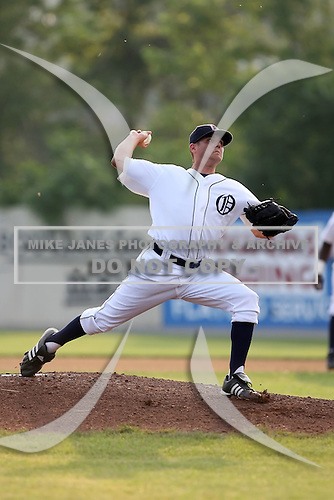 July 7th 2008:  Pitcher Trevor Feeny of the Oneonta Tigers, Class-A affiliate of Detroit Tigers, during a game at Damaschke Field in Oneonta, NY.  Photo by:  Mike Janes/Four Seam Images