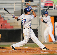 Outfielder Gregory Pron (27 of the Kingsport Mets, Appalachian League affiliate of the New York Mets, in a game against the Burlington Royals on August 20, 2011, at Hunter Wright Stadium in Kingsport, Tennessee. Kingsport defeated Burlington, 17-14. (Tom Priddy/Four Seam Images)