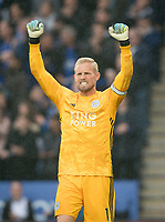 Goalkeeper Kasper Schmeichel of Leicester City celebrates the first goal during the Premier League match between Leicester City and Newcastle United at the King Power Stadium, Leicester, England on 29 September 2019. Photo by Andy Rowland.