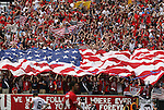 29 May 2010: U.S. fans unfurl a giant American flag after a U.S. goal. The United States Men's National Team defeated the Turkey Men's National Team 2-1 at Lincoln Financial Field in Philadelphia, Pennsylvania in the final home warm up match to the 2010 FIFA World Cup in South Africa.