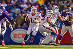 19 October 2014: Buffalo Bills quarterback Kyle Orton looks for an open receiver in the fourth quarter against the Minnesota Vikings at Ralph Wilson Stadium in Orchard Park, NY. The Bills defeated the Vikings 17-16 in a dramatic, last minute, comeback touchdown drive. Mandatory Credit: Ed Wolfstein Photo *** RAW (NEF) Image File Available ***