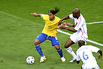 01 July 2006: Ronaldinho (BRA) (10) tries to make room to work against William Gallas (FRA) (5). France defeated Brazil 1-0 at Commerzbank Arena in Frankfurt, Germany in match 60, a Quarterfinal game of the 2006 FIFA World Cup.