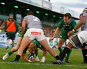 9th September 2017, Galway Sportsground, Galway, Ireland; Guinness Pro14 Rugby, Connacht versus Southern Kings; Darragh Leader (Connacht) looks for a way past Michael Willemse (Southern Kings)
