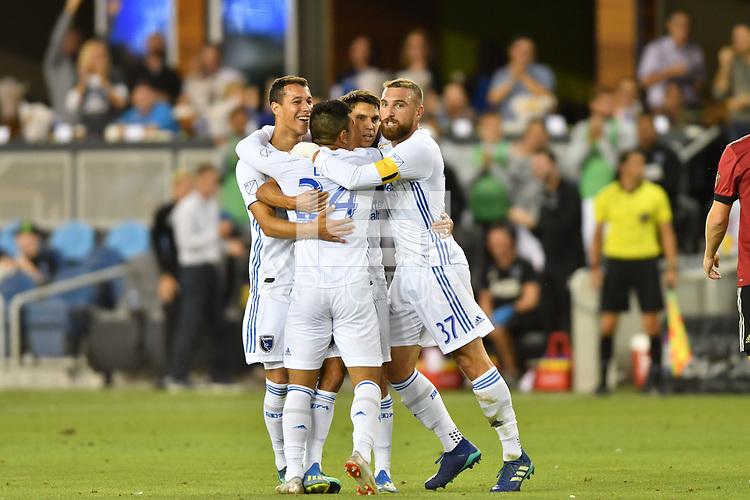 San Jose, CA - Wednesday September 19, 2018: Nick Lima during a Major League Soccer (MLS) match between the San Jose Earthquakes and Atlanta United FC at Avaya Stadium.