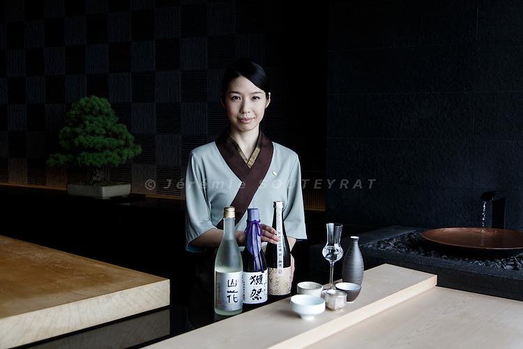 Tokyo, June 28 2013 - Portrait of Kaoru IZUHA, manager of Sushi SORA restaurant in Mandarin Oriental and winner of 2013 sake sommelier world championship.